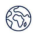 Outline of the world as a globe